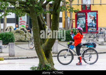 In front of the Rheincenter shopping center in Weil am Rhein, South Baden, Baden-Wuerttemberg, Germany - Stock Photo