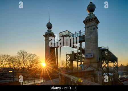 LWL - Industrial Museum, Henrichenburg boat lift on the Dortmund Ems Canal in sunset, Waltrop - Oberwiese, North Rhine-Westphalia, Germany - Stock Photo