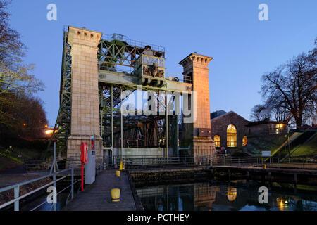 LWL - Industrial Museum, Henrichenburg boat lift on the Dortmund-Ems Canal in evening light, Waltrop - Oberwiese, North Rhine-Westphalia, Germany - Stock Photo