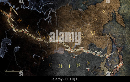 Map, North and Central Asia, Trans-Siberian Railway, Graphic, RailArt - Stock Photo