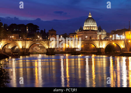 View over the Tiber to the Ponte Vittorio Emanuele II and St. Peter's Basilica, Rome, Lazio, Italy - Stock Photo