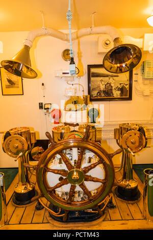 Great Britain, Scotland, Edinburgh, Leith, The Royal Yacht Britannia Museum, Exhibit of The Wheel House - Stock Photo