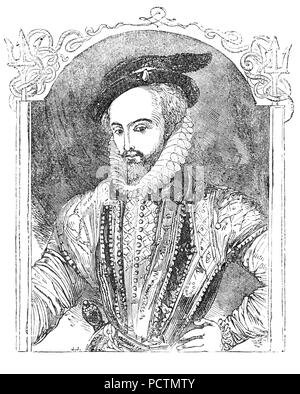 A Portrait of Sir Walter Raleigh (1554-1618) was an English landed gentleman, writer, poet, soldier, politician, courtier, spy and explorer. He  became a favourite of Queen Elizabeth I and in 1585, was knighted and appointed warden of the stannaries - the tin mines of Cornwall and Devon, Lord Lieutenant of Cornwall, and vice-admiral of the two counties. He sat in parliament as member for Devonshire in 1585 and 1586.  In the Armada year of 1588, Raleigh had some involvement with defence against the Spanish at Devon when his ship, the Ark Raleigh, became Lord High Admiral Howard's flagship. - Stock Photo
