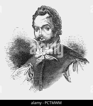 A portrait of Sir Francis Drake (1540-1596), English sea captain, privateer, slave trader, naval officer and explorer of the Elizabethan era. Drake carried out the second circumnavigation of the world in a single expedition, from 1577 to 1580, and was the first to complete the voyage as captain while leading the expedition throughout the entire circumnavigation. Queen Elizabeth I awarded Drake a knighthood in 1581 which he received on the Golden Hind in Deptford. As a Vice Admiral, he was second-in-command of the English fleet in the battle against the Spanish Armada in 1588. - Stock Photo