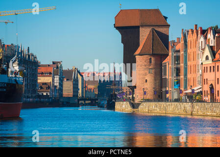 Gdansk crane Zuraw, view of the Zuraw - the largest medieval crane in Europe sited alongside the Motlawa River in the Old Town area of Gdansk, Poland. - Stock Photo