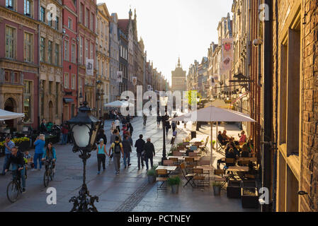 Gdansk street Poland, view along the Royal Way - the main street in the center of Gdansk on a summer afternoon, Pomerania, Poland. - Stock Photo