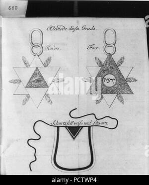 Allegorical diagrams representing 2d Degree of Rosicrucians- Kleinode dieses Grads - Stock Photo