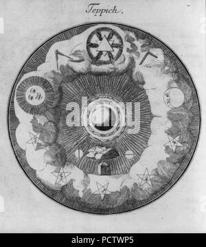 Allegorical diagrams representing 2d Degree of Rosicrucians- Teppich - Stock Photo
