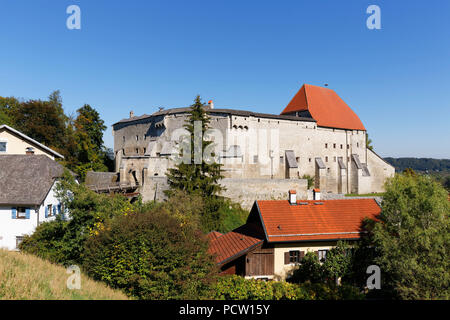 Castle Tittmoning, Rupertiwinkel, Upper Bavaria, Bavaria, Germany - Stock Photo