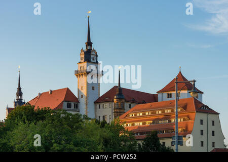 Elbe Cycletour, Saxony, Torgau, Hartenfels Castle in the evening light - Stock Photo