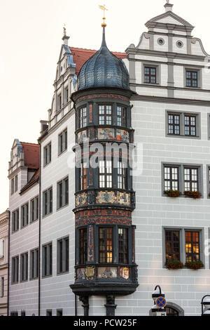 Elbe Cycletour, Saxony, Torgau, historic market square - Stock Photo