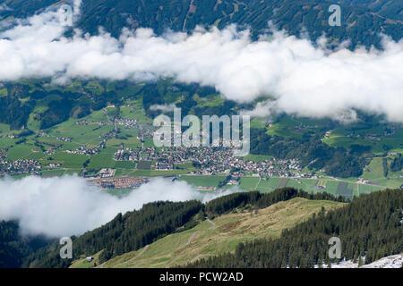 Austria, Tyrol, Alpbach valley, view of the Ziller and Fügen. - Stock Photo