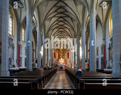 Germany, Bavaria, Upper Bavaria, Altötting, chapel place, collegiate parish church St Philipp and Jakob, interior view - Stock Photo