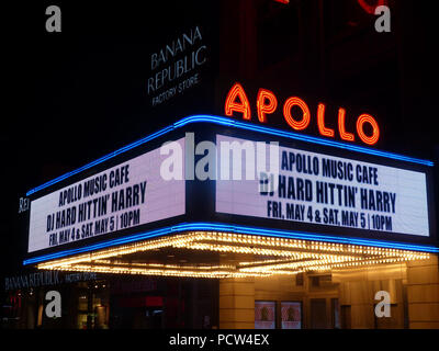 The Apollo Theater at 253 West 125th Street between Adam Clayton Powell Jr. Boulevard and Frederick Douglass Boulevard in the Harlem neighborhood of Manhattan, New York City - Stock Photo