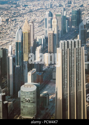 Beautiful top view of Dubai city in UAE. View from above. - Stock Photo