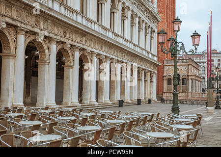A café on St. Mark's square in Venice, italy - Stock Photo