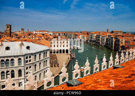 View of Venice and the Grand Canal from the rooftop - Stock Photo