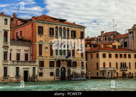 View along the Grand Canal in Venice, Italy - Stock Photo