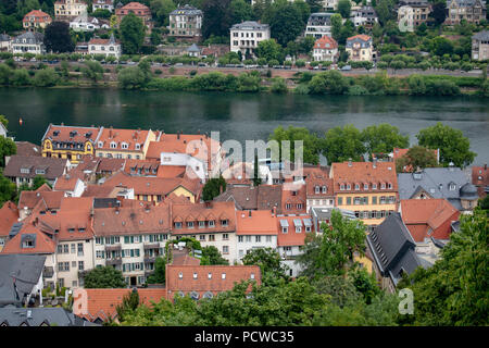 view of old town from Heidelberg castle - Stock Photo