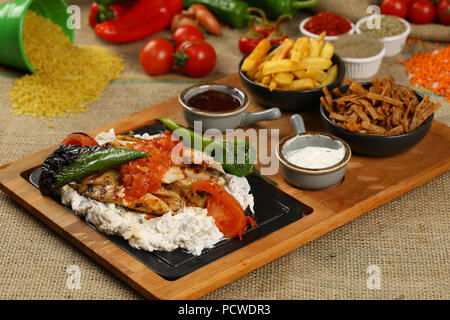Turkish Meat and Chicken Meat Kebab with yogurt - Stock Photo