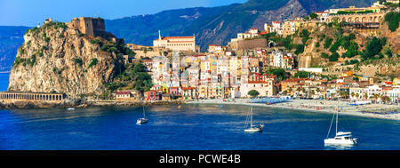 Beautiful Scilla village,view with castle,house and sea,Calabria,Italy. - Stock Photo