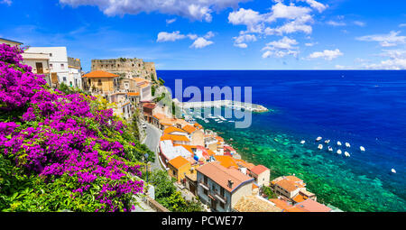 Beautiful Scilla village,view with medieval castle and sea,Calabria,Italy. - Stock Photo