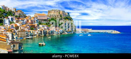 Impressive cScilla village,view with azure sea and Ruffo Casle,Calabria,Italy. - Stock Photo
