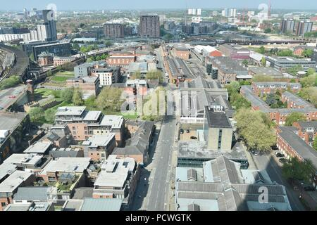 Aerial view of Manchester England, May 2018 - Stock Photo