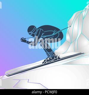 skiing vector logo icon illustration - Stock Photo