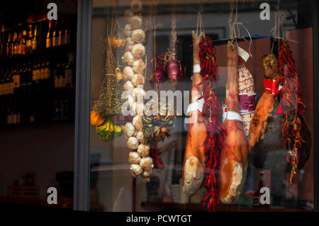 Italian classic meat. meat in the shop window. jerky. dried vegetables. score. - Stock Photo