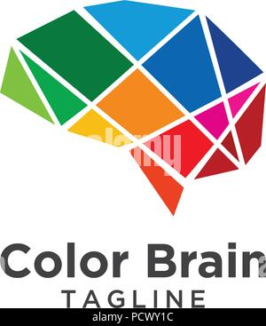 Illustration of abstract brain logo template vector - Stock Photo