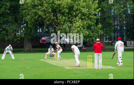 Edinburgh, Scotland, UK; 4 August, 2018. Local derby cricket match between Morton and Marchmont from Edinburgh playing in East of Scotland League Division 1 on the Meadows in Edinburgh. Credit: Iain Masterton/Alamy Live News - Stock Photo