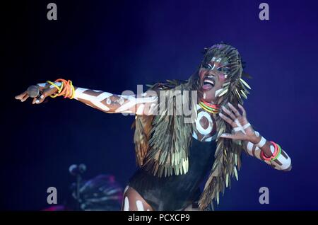 Grace Jones performs on stage at Bestival, Dorset, UK Credit: Finnbarr Webster/Alamy Live News - Stock Photo