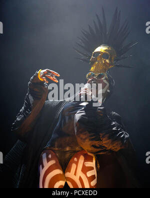 Dorset, UK. 4th August 2018. Bestival Festival Day 2 -  August 4th 2018.  Grace Jones performing on stage, Lulworth, Dorset, UK Credit: Dawn Fletcher-Park/Alamy Live News - Stock Photo