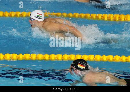 Glasgow, UK. 04th Aug, 2018. Tamas Kenderesi (Hungary) in the 2nd Series of the 200m Papillon during the Swimming European Championships Glasgow 2018, at Tollcross International Swimming Centre, in Glasgow, Great Britain, Day 3, on August 4, 2018 - Photo Laurent lairys / DPPI Credit: Laurent Lairys/Agence Locevaphotos/Alamy Live News - Stock Photo