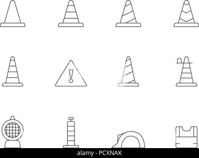 Outline Icons - Traffic Warning Sign - Stock Photo