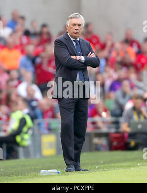 Napoli Manager Carlo Ancelotti on the touchline during the pre-season friendly match at the Aviva Stadium, Dublin. - Stock Photo