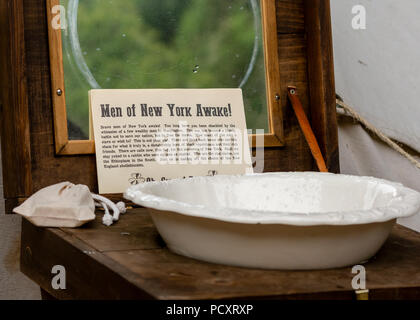 Duncans Mills, CA - July 14, 2018: Sign at a Northern California's Civil war reenactment remembering the New York City draft riots (Draft Week) when t - Stock Photo