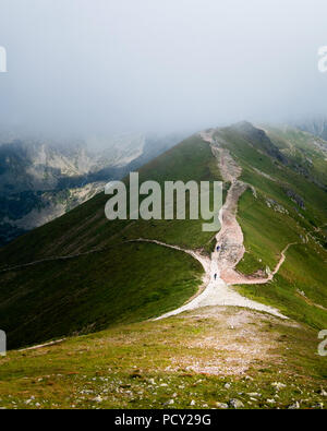Scenic mountain view with low clouds and beautiful light at summer day in Tatra National Park, Poland - Stock Photo