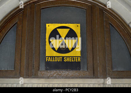 Fallout Shelter sign in downtown San Antonio, Texas, United States (capacity: 395 people). - Stock Photo