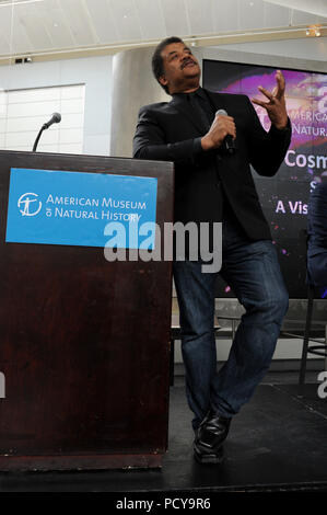 NEW YORK, NY - JULY 06: American Museum of Natural History (AMNH) holds a panel discussion on 'Seeing into the Future: A Visionary New Space Telescope', hosted by AMNH Director of the Hayden Planetarium Neil deGrasse Tyson on July 6, 2015 in New York City   People:  Neil deGrasse Tyson - Stock Photo