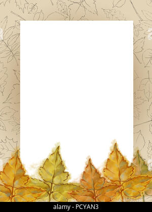 Autumnal Template with Line Drawing Patterned Frame and Yellow Leaves. Framed Text Copy Space Decorated with Watercolor and Line Leaves. - Stock Photo