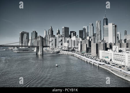 New York City Downtown and Brooklyn bridge black and white - Stock Photo