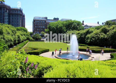 Beautiful Conservatory Garden is the only formal garden in Central Park, Manhattan on JULY 4th, 2017 in New York, USA. (Photo by Wojciech Migda) - Stock Photo