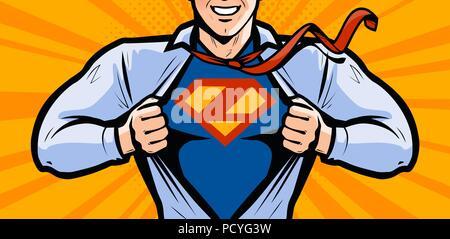 Superhero. Vector illustration in style comic pop art - Stock Photo