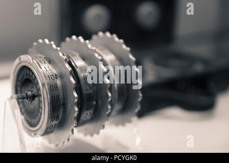 Enigma machine rotors at Bletchley Park, the home of the now famous codebreakers of the Government Code and Cypher School - the forerunner of GCHQ - Stock Photo