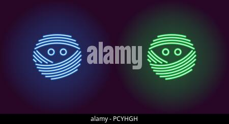 Neon mummy face in blue and green color. Vector illustration icon of bandaged Mummy head with eyes in glowing neon style. Illuminated graphic element  - Stock Photo