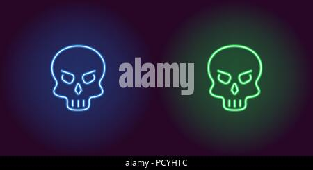 Human neon skull in blue and green color. Vector illustration icon of cartoon Skull in glowing neon style. Illuminated graphic element for decoration  - Stock Photo