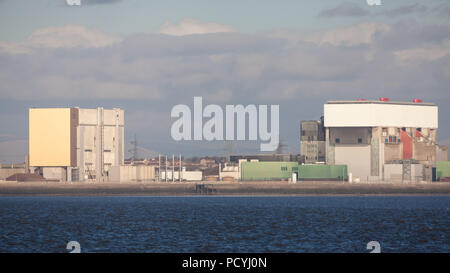 Heysham One (left) and Two (right) Nuclear Power Stations in Lancashire - Stock Photo