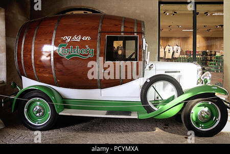 COPENHAGEN, DENMARK - MAY 18, 2018 the Old Carlsberg brewery in Copenhagen: in exposition a vintage Chevrolet barrel shaped, used as distribution vehi - Stock Photo